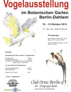 Vogelschau Club Ornis Berlin 2014